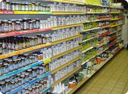 Store Shelf of Vitamins and Supplements.