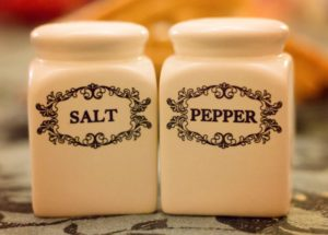 Salt Pepper Shakers. Watch The Salt!